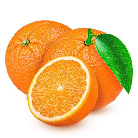 fresh orange isolated on white background 스톡 콘텐츠