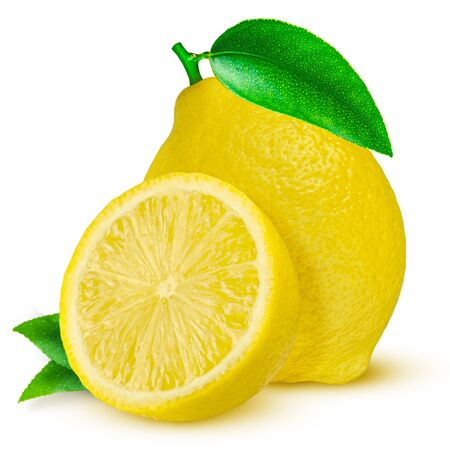Lemon. Fruit with half and leaves isolated on white