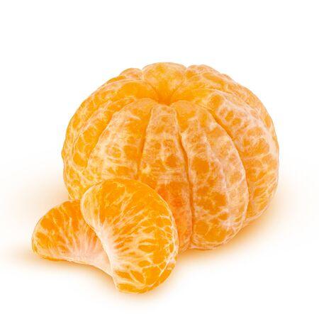 fresh mandarin with leaf isolated on white.