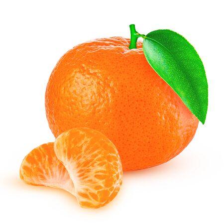 fresh mandarin with leaf isolated on white