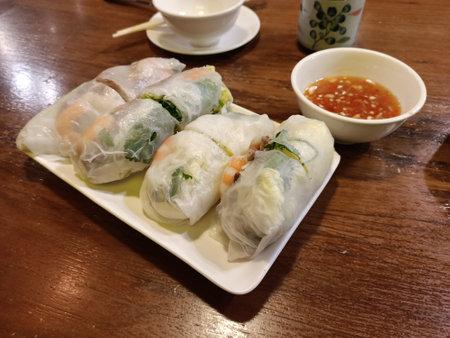 Spring rolls, rice noodles, Vietnamese cuisine, vegetables, shrimp, delicious, fresh, ingredients, dinner, hearty, seasoning, sauces 写真素材