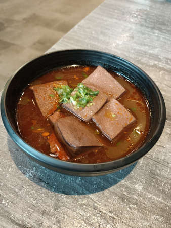 Dinner, special, Taiwanese, delicious, cuisine, meal, spicy, duck blood, tender, braised, seasoning, pepper
