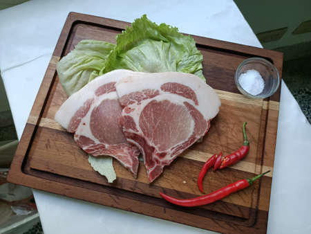 Ingredients, pork, ribeye, pork chop, cuisine, raw meat, meal, delicious, fresh, plated, delicious