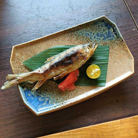 Japanese, cuisine, barbecue, sweetfish, dinner, delicious, grilled fish, platting, ingredients
