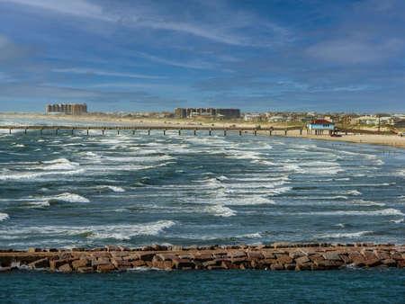 Ocean Walking Walk, Wharf Along Hull Christie Coast, TX 2011 版權商用圖片