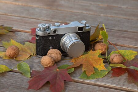 Still life autumn mood picture with vintage rangefinder camera, leaves and nuts on wooden background