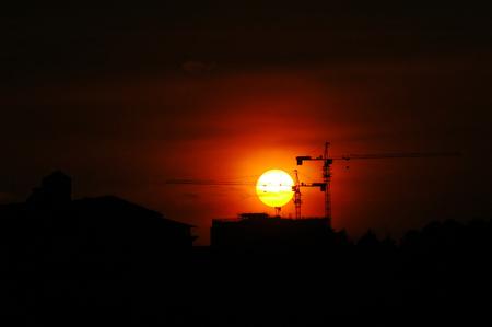 building crane silhouette Stock Photo