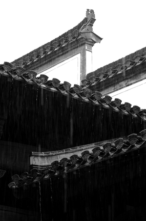 Heavy rain drifting on ancient buildings in Anhui, China