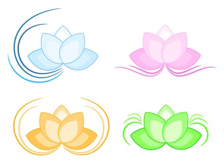 white lotus flower: Lotus  set