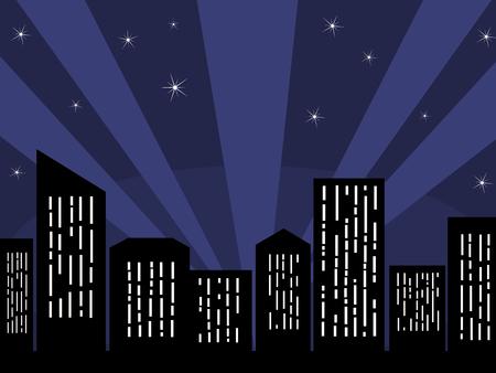 night lights: City skyline Illustration
