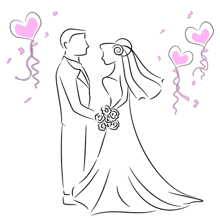 wedding couple: Wedding couple Stock Illustratie