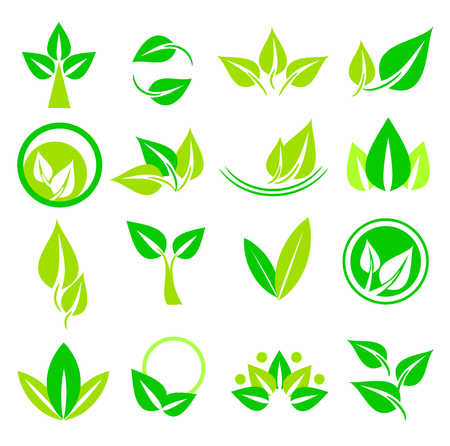 vegetate: Set of leaves icons