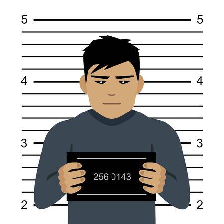 Mugshot of evil criminal, flat style vector illustration. Иллюстрация