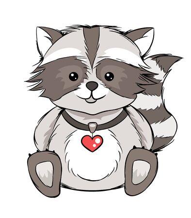 Cute raccoon character, hand drawn vector illustration. Ilustracja