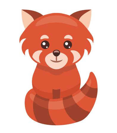 Little red panda cartoon isolated on white background