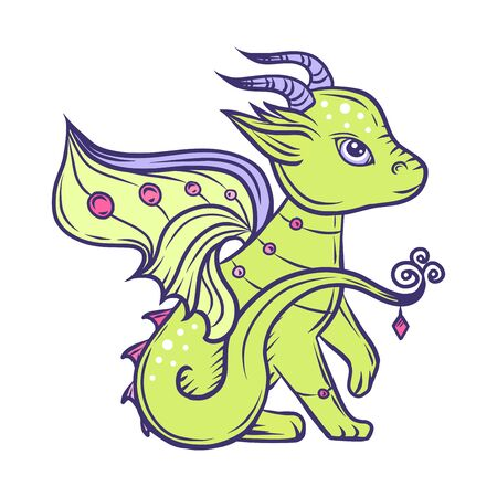 Hand drawn green dragon, vector illustration.