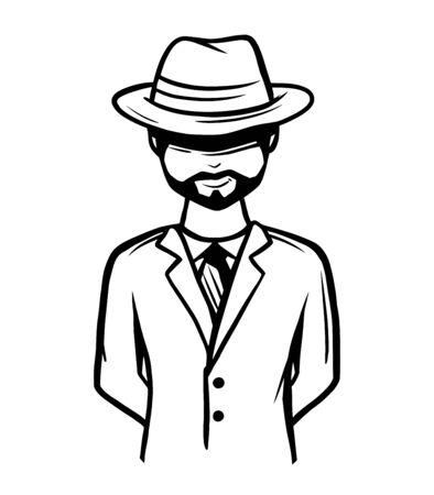Personaje espía dibujado a mano Ilustración de vector