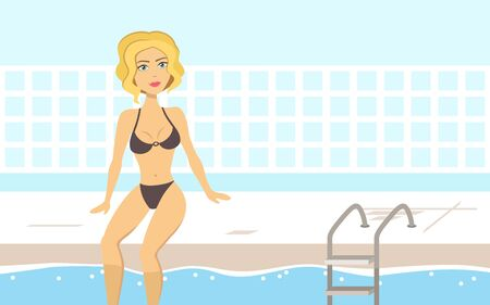 Happy blonde woman in the swimming pool Ilustracja