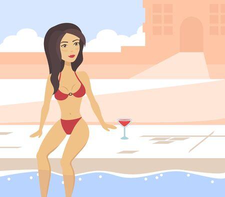 Cute woman in the swimming pool