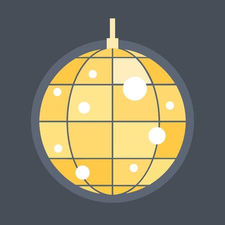 Golden disco ball on dark background, vector illustration.