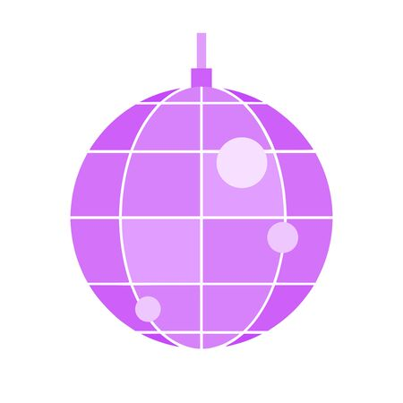 Disco ball on white background, flat style vector illustration.