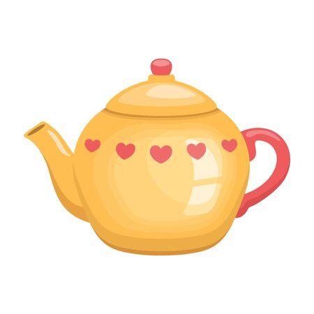 Lovely yellow teapot, vector illustration.