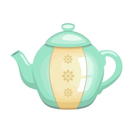Vintage teapot on white background, vector illustration.