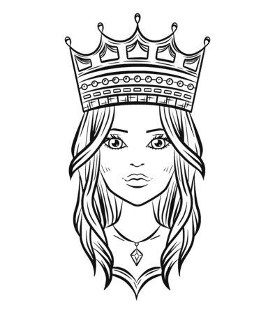 Hand drawn lovely queen design, vector illustration.
