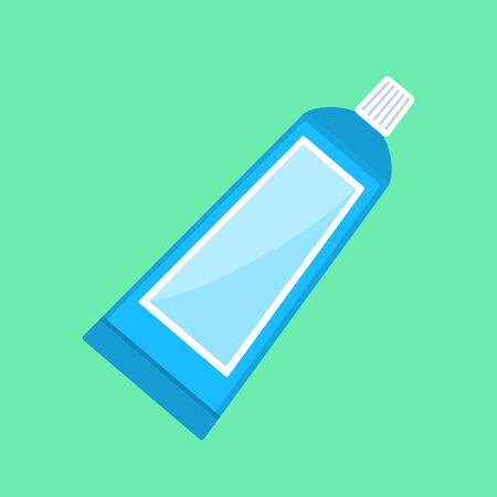 Toothpaste in a tube, flat style vector illustration.