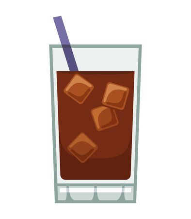 Glass of cola on white background, vector illustration Ilustracja
