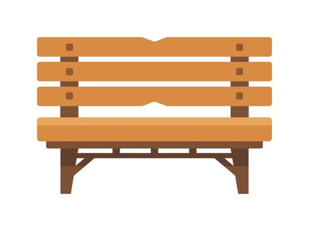 Park bench isolated on white background, vector illustration.