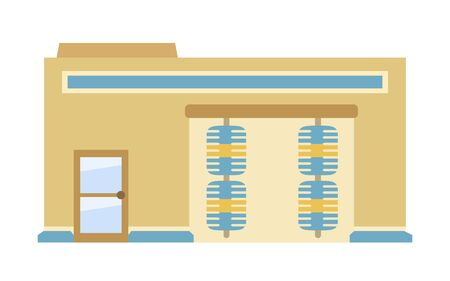 Car wash building exterior, flat style vector illustration isolated on white background. Ilustracja