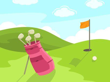 Golf course cartoon, vector illustration