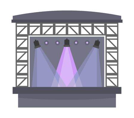Concert stage isolated on white, flat style vector illustration.