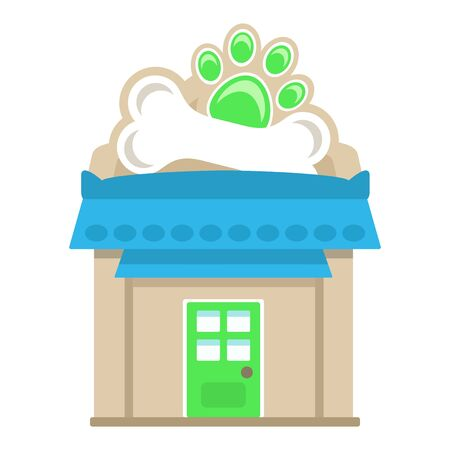 Pet shop building, flat style vector illustration. Ilustracja