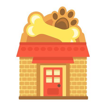 Pet shop exterior, flat style vector illustration. Ilustracja