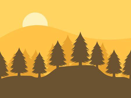 Pine forest background, vector illustration. Ilustracja
