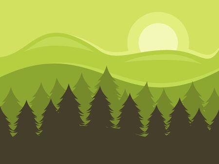 Pine forest landscape, vector illustration. Ilustracja
