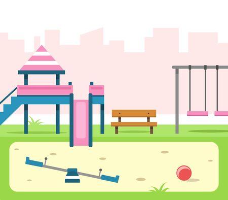 Children's playground cartoon vector illustration Ilustracja