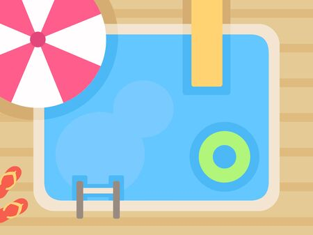 Swimming pool background, top view vector illustration.