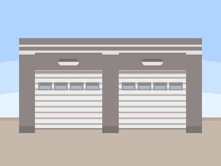 Warehouse exterior, flat style vector illustration. Ilustracja