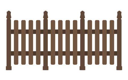 Solid wooden fence isolated on white background. Ilustracja