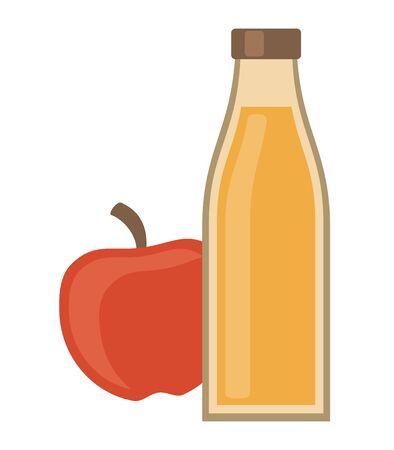 Tasty apple juice in a bottle, vector illustration.