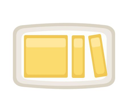 Butter on a plate, vector illustration.