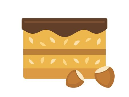 Tasty cake with nuts and chocolate, flat style vector illustration. Ilustracja