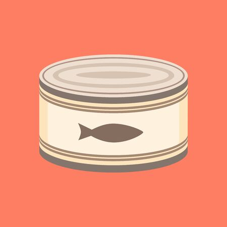 Canned fish, flat style vector illustration. Ilustracja