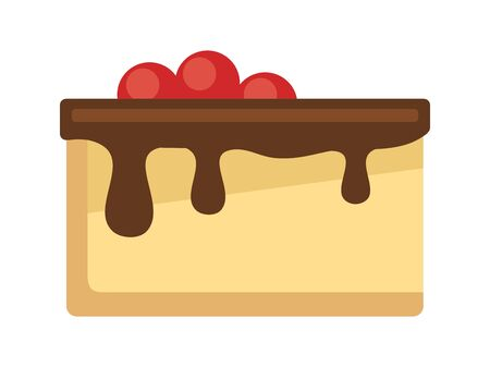 Cheese cake with chocolate and cherries, flat style vector illustration. Ilustracja