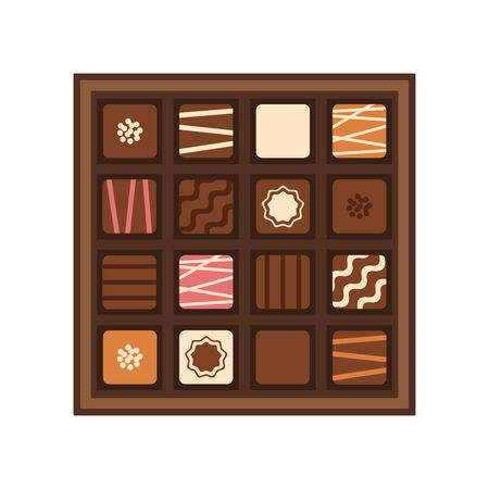 Box of chocolates on white background, vector illustration.