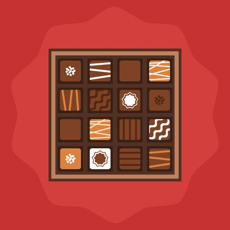 Chocolate box on red background, vector illustration. Ilustracja