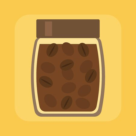Coffee jar on bright yellow background, flat style vector illustration. Ilustracja